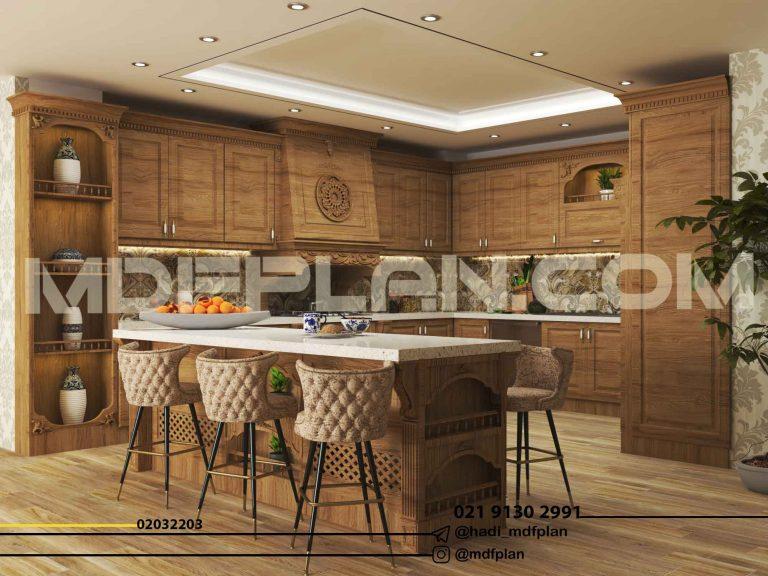 آشپزخانه کلاسیک طرح چوب