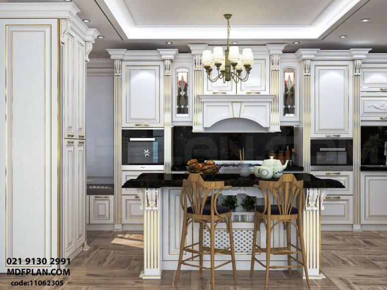 آشپزخانه سفید و طلایی
